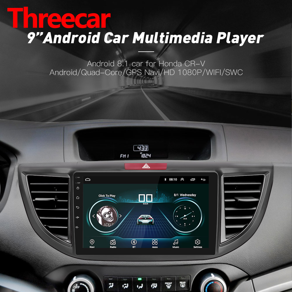 Android 8.1 Quad core Car Radio GPS Navigation Head Unit Player for 2012 2015 Honda CRV 9 inch HD 1024*600 2019 christmas