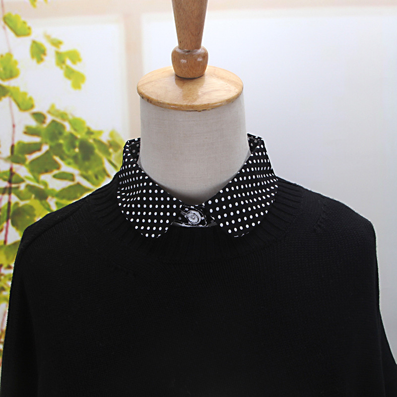 Women Cotton Fake Collar Polka Dot Print Detachable Adjustable Half Shirts -MX8