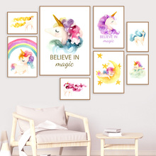 Rainbow Cute Flower Unicorn Wall Art Canvas Painting Watercolor Cartoon Nordic Posters And Prints Pictures For Kids Room