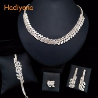 HADIYANA Asymmetric 4pcs Sets Sparkling Crystal Wedding Bridal Jewelry Accessory For Bride Party Date Princess Queen BN5785