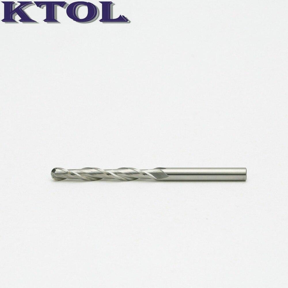 2*Carbide Ball Nose End Mill CNC Engraving Bit Kit 6mm Spiral Cutter 52mm Long