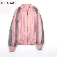 Шило GO кожаный костюм Женская Осенняя мода овчины пояса из натуральной кожи наборы для ухода за кожей розовый Свободные Бейсбол куртк