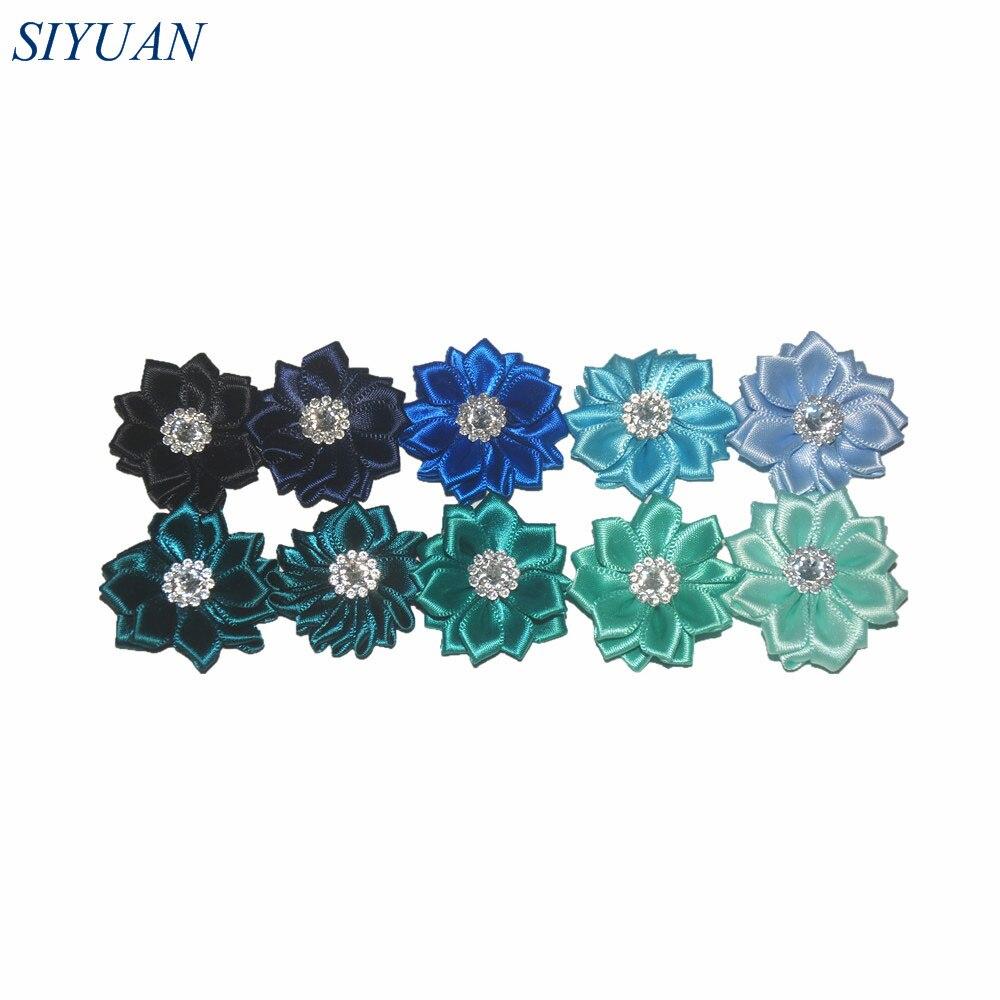 Wholesale 200pcs DIY 3 5cm Mini Polyester Ribbon Polygonal Flowers With Rhinestone girls Hair Accessory Head