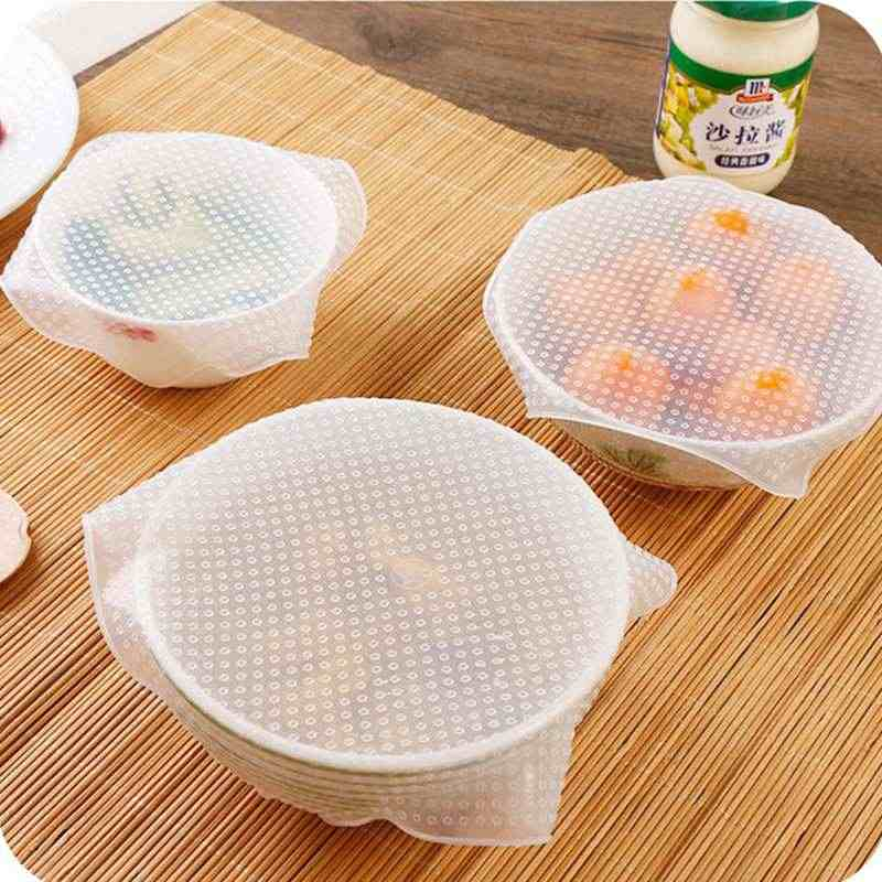 Urijk 1 PC Reusable Silicone Bowl Cover Food Wrap Seal Vacuum Lid Stretch Kitchen Tool Multifunctional Food Fresh Keeping