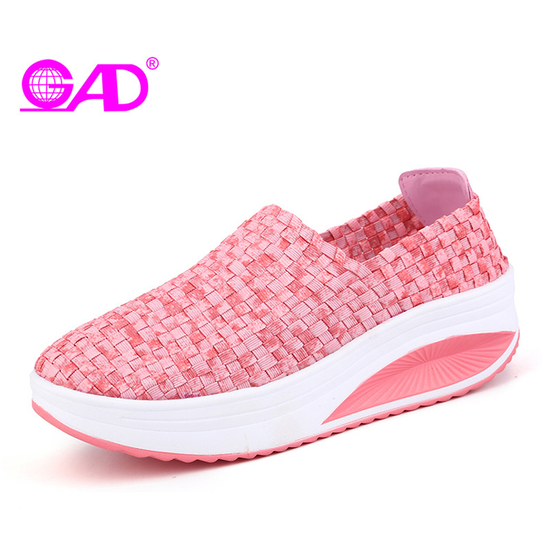 GAD Women Flat Platform Shoes Spring/Summer Round Toe Slip-on Women Casual Shoes Fashion Hand-woven Breathable Women Swing Shoes 2018 women summer slip on breathable flat shoes leisure female footwear fashion ladies canvas shoes women casual shoes hld919