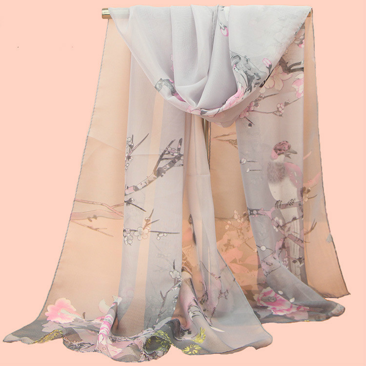 2019 New Fashion Womens Ladies Medium Long Chiffon Stole Scrawl Flower Printed Soft Scarf
