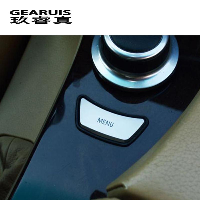 Car Styling Interior Multimedia Control MENU Button Trim Sticker Cover For BMW E60 E90 3 5 Series X5 X6 E70 E71 Auto Accessories