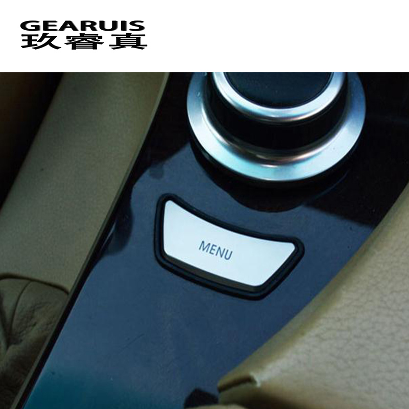 Car styling Interior multimedia control MENU button Trim Sticker cover for BMW e60 E90 3 5 series X5 X6 E70 E71 auto Accessories for bmw x5 e70 x6 e71 carbon fiber window lifter control frame window switch decor armrest panel trim car interior accessories
