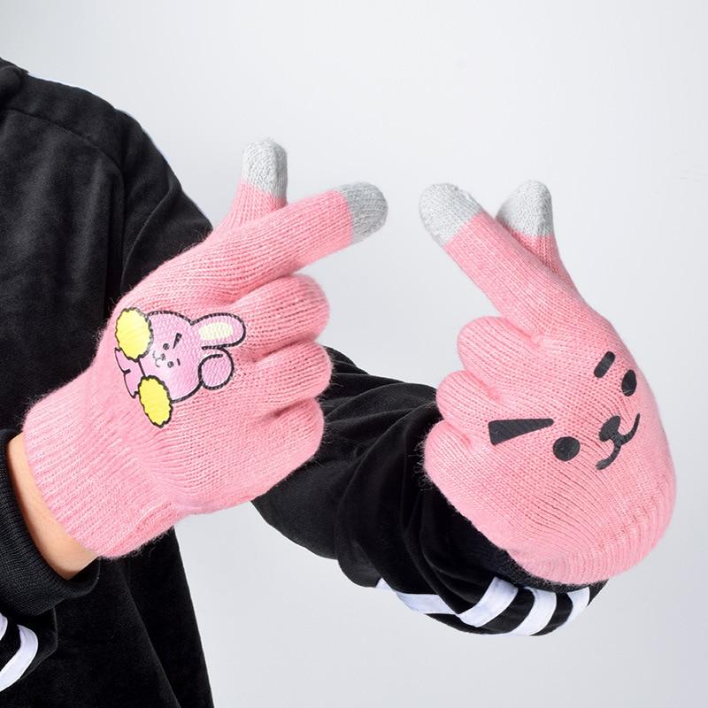 R.M.Y KroY PecoeD 1 Paire BTS Tricot/é Gants H02-cooky Kpop Unisexe Hiver Chaud Gants BTS Exo GOT7 Twice Noir Rose Seventeen Chaud Doux Tricotage Gants A