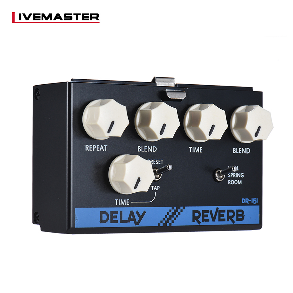BIYANG LiveMaster Series DR-151 Digital Delay + Reverb Guitar Effect Pedal Module with Tap Tempo Function True BypassBIYANG LiveMaster Series DR-151 Digital Delay + Reverb Guitar Effect Pedal Module with Tap Tempo Function True Bypass
