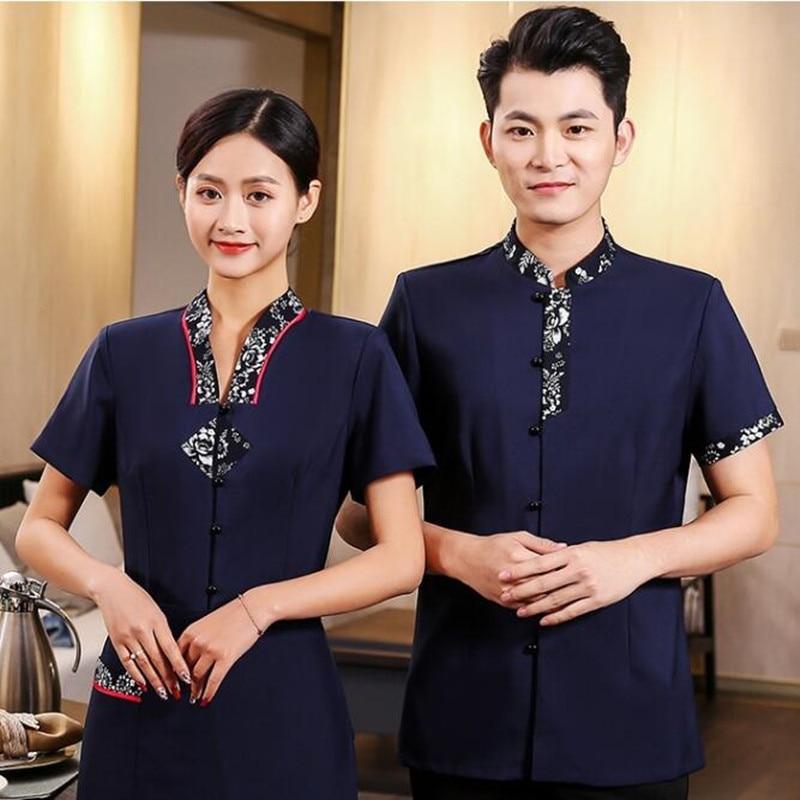 Waiter's Short Sleeve Workwear Summer Waitress Women's Hotel Chinese Restaurant Uniform Hot Pot Hotel Plus Size Jacket H2168