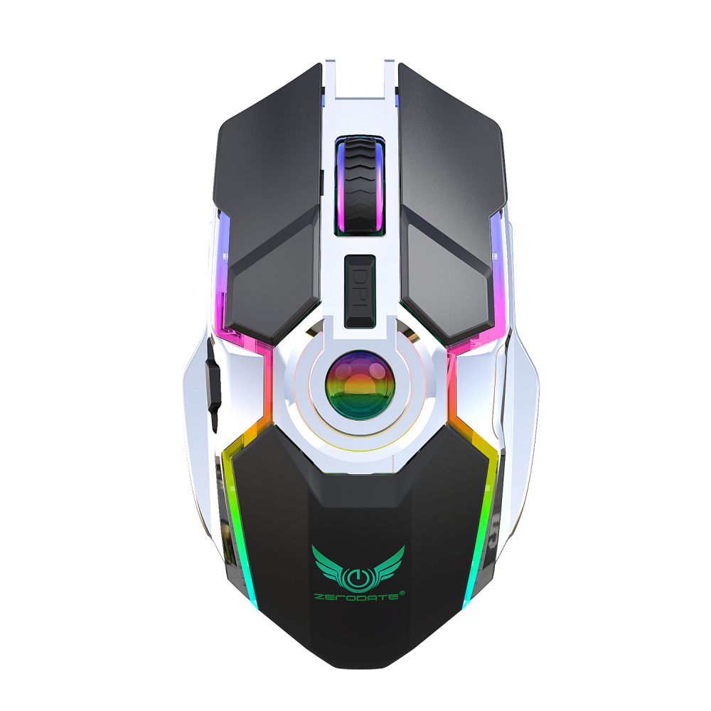 ZERODATE New Rechargeable Mouse RGB Light Wireless Mouse 2.4G Adjustable DPI Game Player Office PC Notebook Application