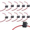 Apoyo 10 UNIDS EE Caja Portafusibles InLine ATC Calibre 16 Awg cable de Cobre 12 V 30A Enchufe de Espiga XY01