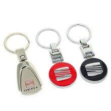 3D Metal Car Styling Keychain For SEAT Ibiza Leon Cupra Silver Metal Key chain Key Ring car keyring Chaveiro Llavero