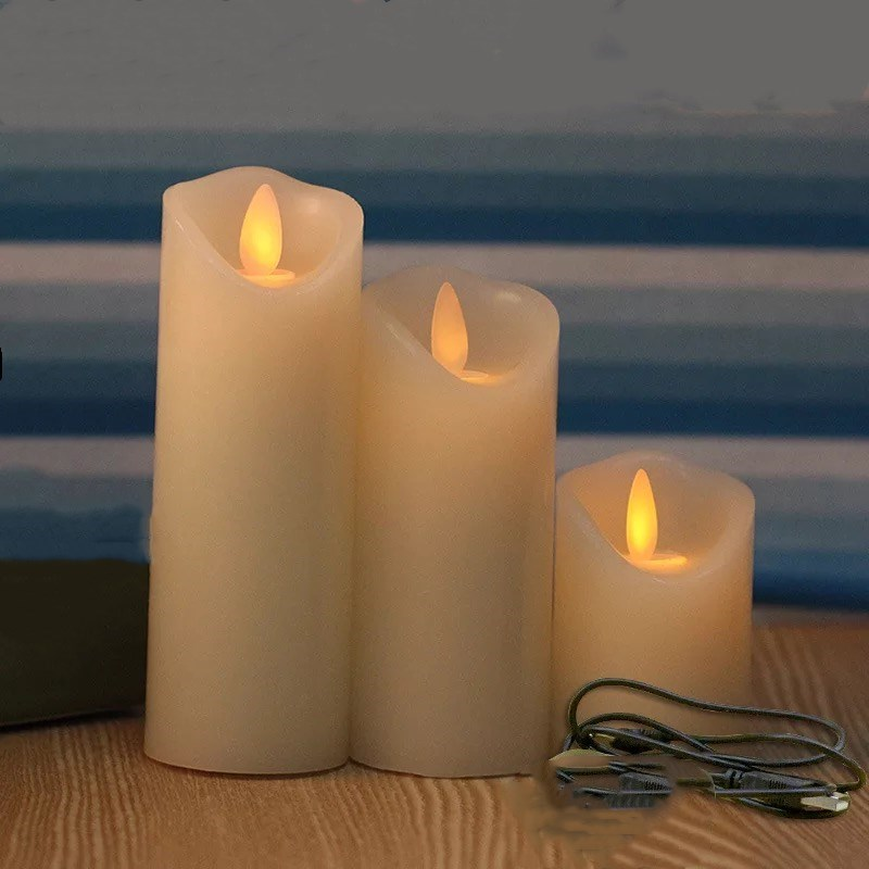 Set Of 3 USB Powered Rechargeable Led Pillar Paraffin Candle Wavy Edge Moving Wick Wedding Xmas Party Bar Decor 10CM-12.5CM-15CM
