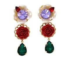 Flower Statement Dangle Earrings for Women Trendy Brand Pendientes Large Drop ZA Jewelry
