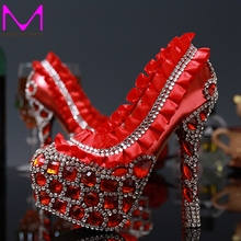 Luxury Rhinestone Crystal Laies shoes High heells Bridal Wedding Dress Shoes Red Flower Round Toe Lady Party Dancing Dress Shoes