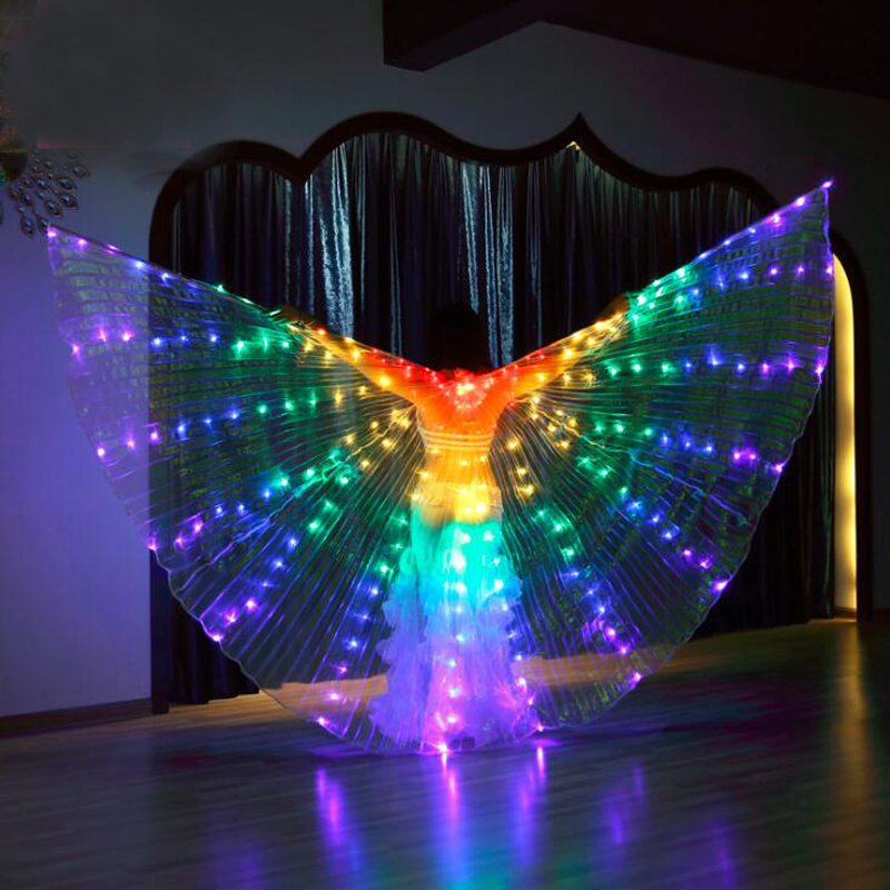 Wholesale Cheap Belly Dance LED Isis Wings Colorful Dancing LED Light IsisWings Luminous Stage Dance Props LED Wings With Sticks