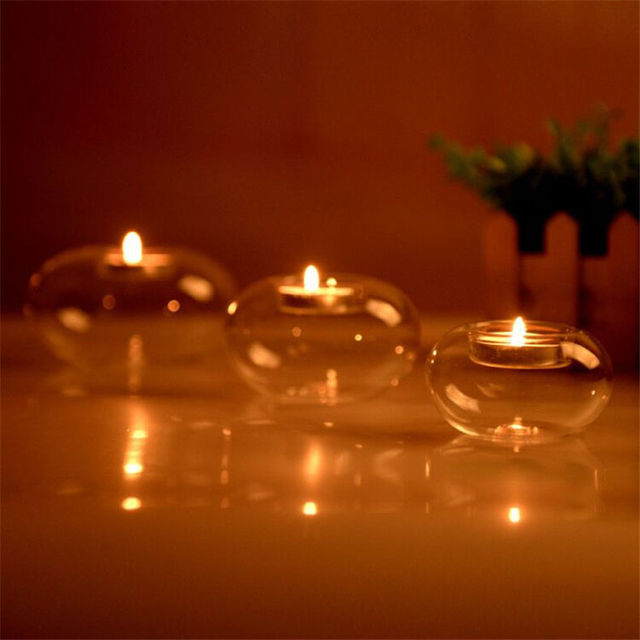 Glass Round Hanging Candle Light Holder Candlestick Party Home Decor Romanti 3