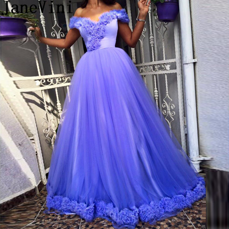 JaneVini Off Shoulder Lavender   Prom     Dresses   Plus Size Woman Long Puffy Tulle Formal Gowns for Evening Party Lace-Up Galajurken