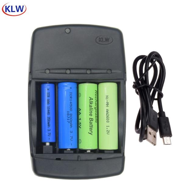 4 yuvası akıllı USB pil şarj cihazı AA AAA 1.2 V NiMh NiCd 1.5 V Alkalin için 14500 16340 10440 10340 3.7 V Li-Ion pil şarj cihazı