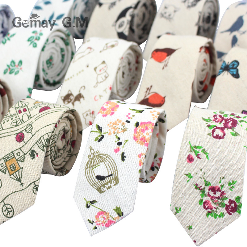 Fashion Mens Neck Tie Linen Skinny Tie For Men Wedding Party Print Neckties Casual Men Retro Neckwear Star Female Cartoon Ties