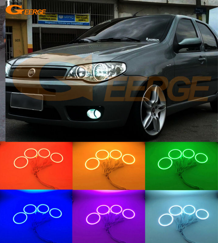For FIAT PALIO 2004 2005 2006 headlight Excellent Multi-Color Ultra bright RGB led Angel Eyes kit Halo Rings super bright led angel eyes for bmw x5 2000 to 2006 color shift headlight halo angel demon eyes rings kit