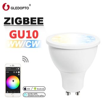 GLEDOPTO zigbee ww/cw dimmer GU10 bulu  LED spotlight 5W ZLL smart APP controll  AC100-240V  cool white and warm white led bulb лампа светодиодная полусфера volpe simple gu10 5w 3000k led jcdr 5w ww gu10 s