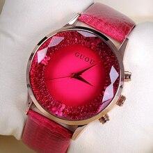 Mujeres diamante original relojes señora de lujo pulsera Relojes Cuero  auténtico guou reloj mujeres rhinestone relojes moda hora. 34af10a00af5
