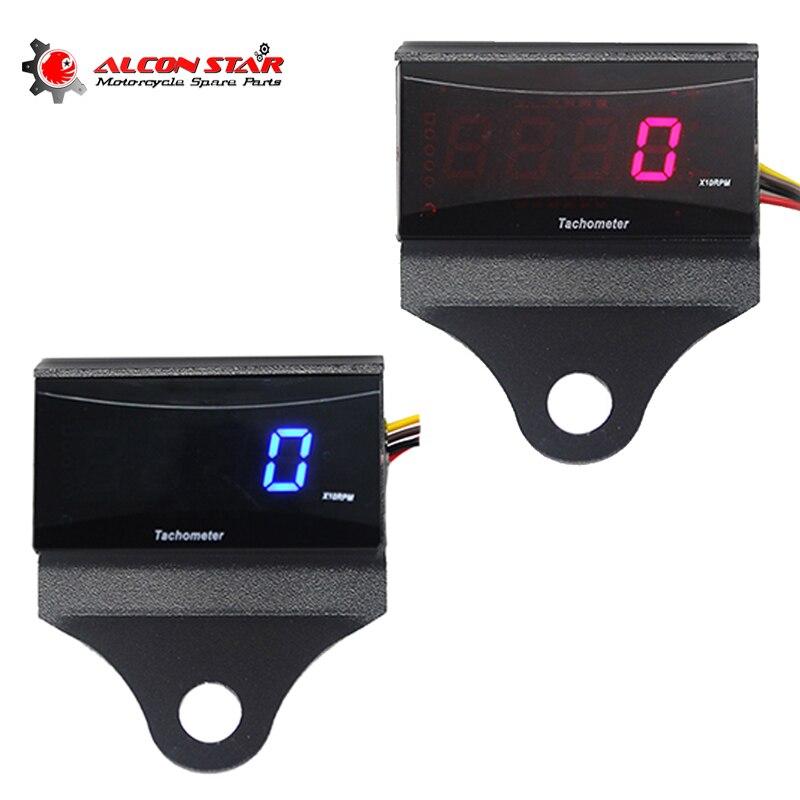 Alconstar-Medidor de velocidad de motocicleta Koso Mini RPM medidor Digital cuadrado LCD pantalla del motor Tach hora medidor tacómetro medidor para Kawasaki