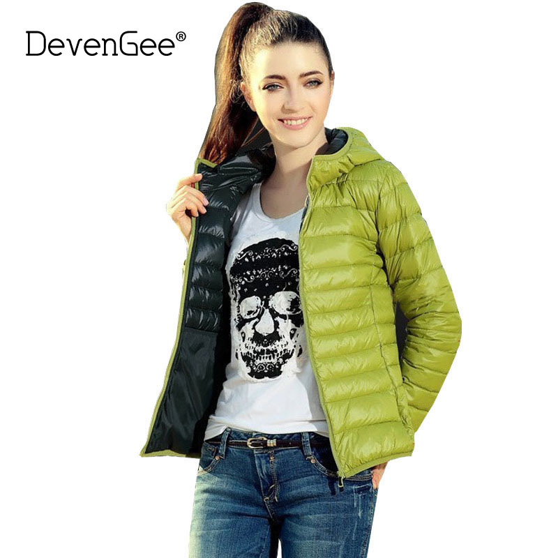 DevenGee Chaquetas Mujer 2018 New Autumn Winter Fashion   Basic     Jacket   for Women Long Sleeve Hooded Female Quilted   Jackets   Coat