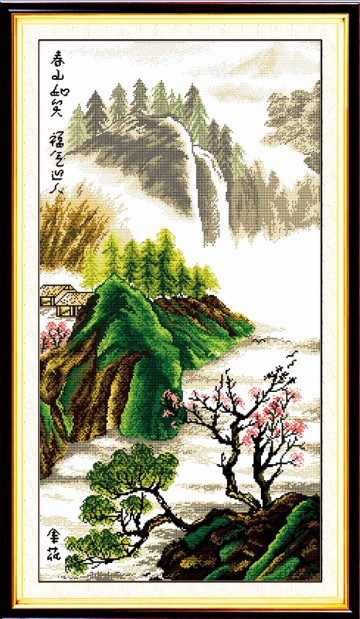 Hills spring cross stitch kit Chinese mountain river count print 14ct 11ct hand embroidery DIY handmade needlework supplies bag