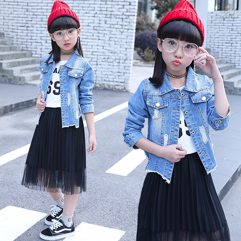 2018 Spring Autumn Kids Clothes Girls 4 5 6 7 8 9 10 11 12 14 Years Denim Jacket For Girls Children Clothes Sets Kids Fashion 2018 autumn winter denim kids clothes embroidery floral jacket jeans 2pcs girls spring teenage girls clothing 6 8 10 12 years