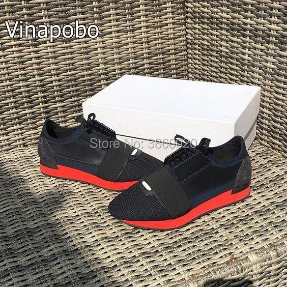Zapatos de pareja de hombres de marca de lujo de moda zapatos planos de malla de cuero colores mezclados de encaje de entrenador Casual Unisex tamaño de los zapatos 35 46-in Zapatos informales de hombre from zapatos    1