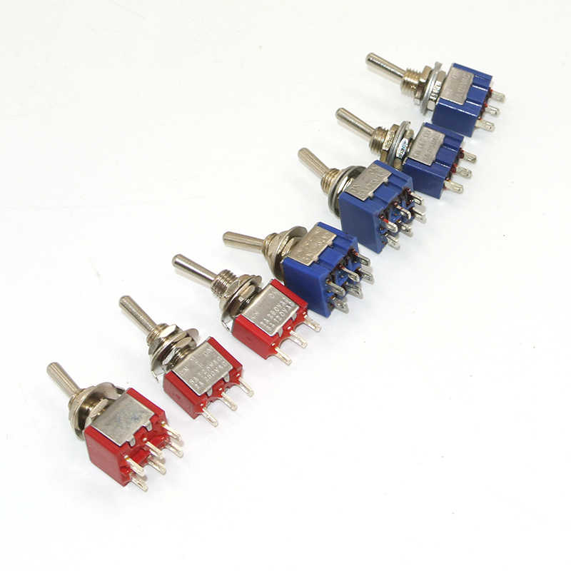 5 Buah Saklar Toggle Mini Switch 2 Posisi 3 Posisi Menempel Tombol MTS-102/103/202/203 Di -On SPDT On-Off-On SPDT Buah