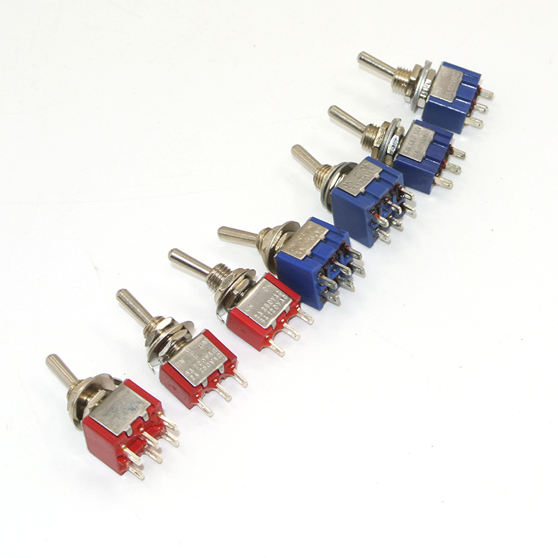 5pcs Toggle Switch Mini Switches 2 Position 3 Position Latching Switch MTS-102/103/202/203 ON-ON SPDT ON-OFF -ON SPDT DPDT 10pcs dark blue 3 position spst latching switches mini on off on toggle switch 6a 125vac 3a 250vac for switching lights motors