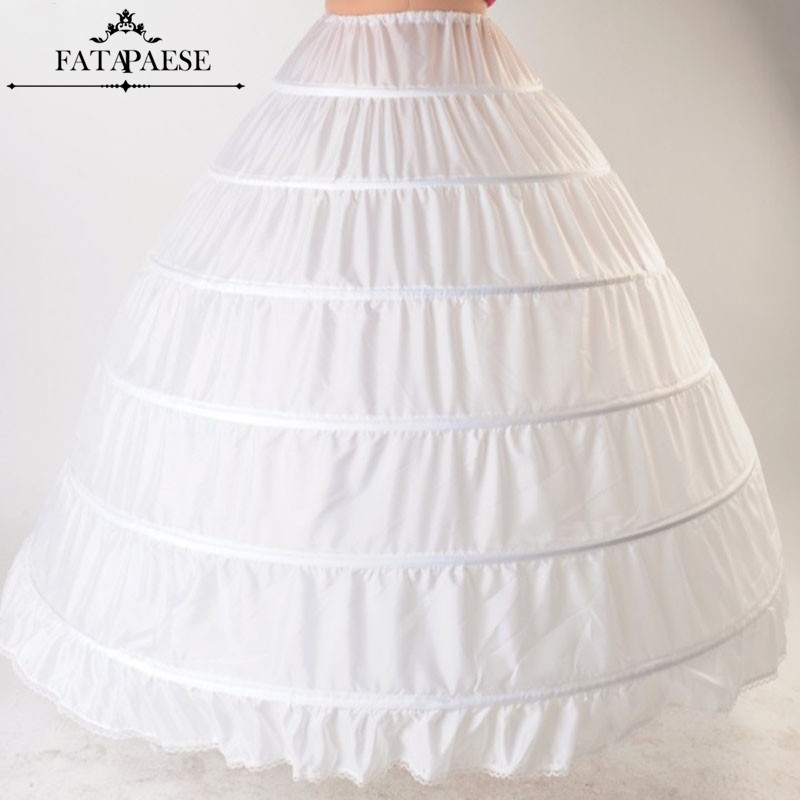 In Stock White Black Ball Gown 6 Hoops Skirt Petticoats Wedding Dress Crinoline Underskirt Wedding Accessories Jupon Mariage