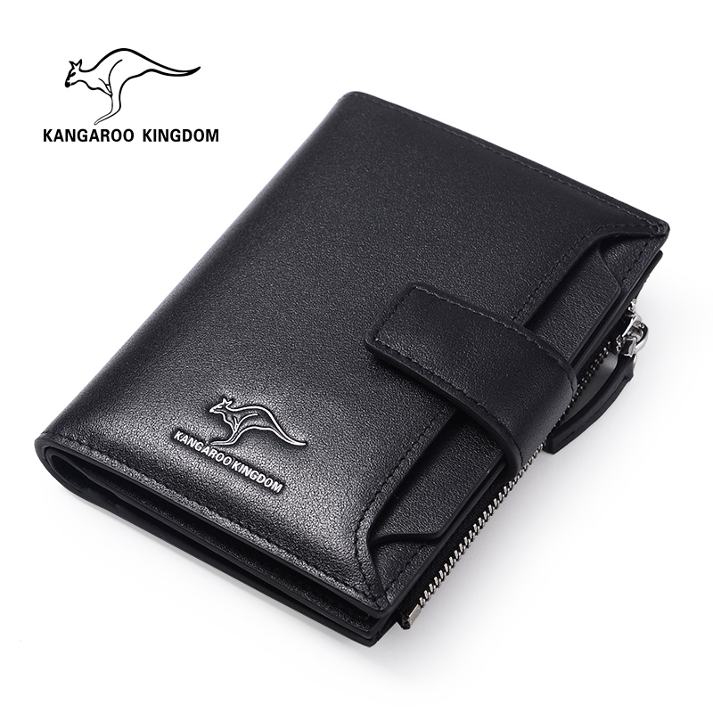 KANGAROO KINGDOM fashion men wallets split leather business card holder wallet brand male hasp purse 2017 new wallet men purse fashion leather 6 card holder sim card holder brand wallet men split cow leather purse small purses
