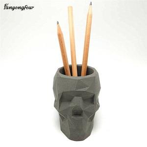 Image 3 - 3D skull เรขาคณิตดอกไม้หม้อแม่พิมพ์คอนกรีตแม่พิมพ์ซิลิโคน diy ผู้ถือปากกาซีเมนต์ปูนปลาสเตอร์แม่พิมพ์ตกแต่งเครื่องมือ
