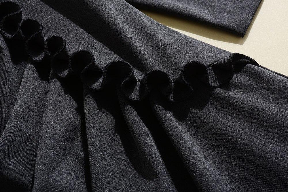 Qualité Femmes Gris De 2018 Luxe Ruches Robes Robe Nouveau Marque Automne Haute Mode Princesse Vêtements Piste qxwFCgOwSE