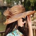 Playa sombreros de sun del Casquillo de las mujeres 2017 de Moda de Verano de flores De Gasa Plegable Floppy Sun Sombreros Casuales Retro de Las Señoras bowknot Retro sombrero de Las Muchachas