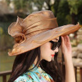 Women's beach sun hats Cap 2017Summer Fashion Voile flowers Foldable Floppy Sun Hats Casual Retro Ladies Retro bowknot hat Girls