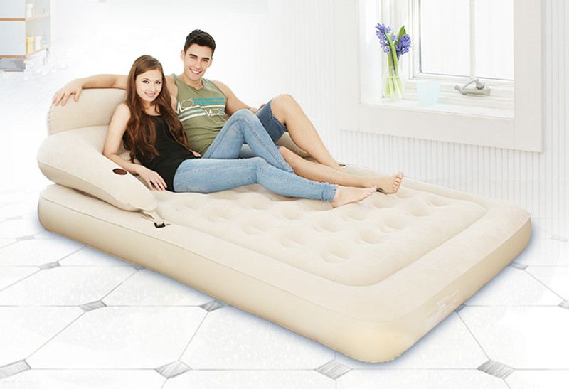 Waterproof Flocking Inflatable Bed Backrest Inflatable Mattress Strong Support Double To Increase Folding Bed Bedroom Furniture цена 2017