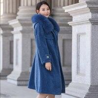 Длинные овечья шерсть пальто с мехом Для женщин зимние теплые куртки реального Шерстяные пиджаки натуральный Лисий меховой воротник Кепки