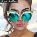 Luxo Original Marca Cat Eye Sunglasses Mulheres Marca Designer 2017 Vintage Retro Óculos de Sol Para As Mulheres Lady Feminino Óculos De Sol Espelho