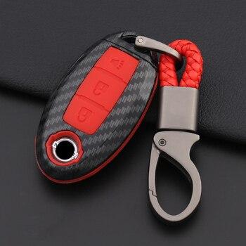 Carbon Faser Silikon Auto Schlüssel Fall Abdeckung Für Nissan Tidda Livida X-Trail T31 T32 Qashqai März Juke Pathfinder Hinweis GTR Keychain