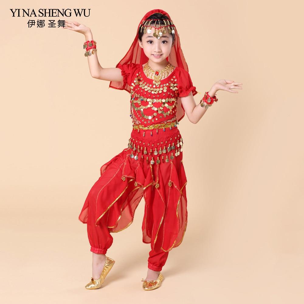 2018 Children Belly Dance 5 Pcs(top+pant+waist Chain+bracelet+headdress) Indian Clothes Girls Belly Dance Bollywood Costume H007