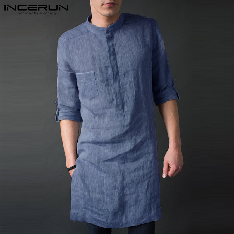INCERUN Mens Shirt Long Sleeve Stand Collar Solid Casual Tops Pullovers Loose Vintage Long Shirts Men Indian Clothing 2019 5XL