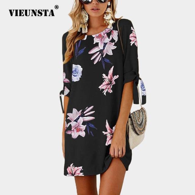 VIEUNSTA Women Chiffon Bow Tie Summer Beach Dress 3 4 Sleeve Mini Tunic  Sexy Party Dress Floral Print Elegant A-Line Dresses 5XL f48dd4339