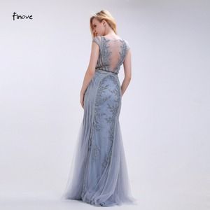 Image 2 - Finove Elegant Mermaid Evening Dresses Long 2020 New Style Scoop Neck Capped Beading Embroidery Gray Prom Gown Vestido de Festa